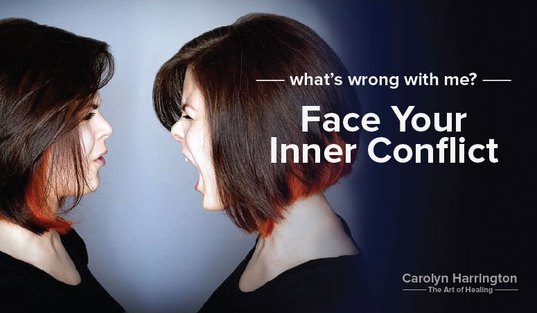 Woman yelling at an image of herself to illustrate facing her inner conflict