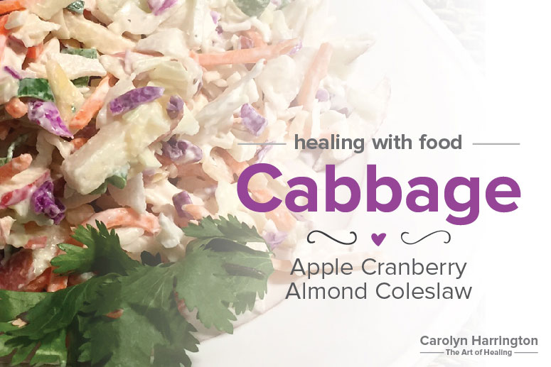 Coleslaw made with Apple, Almonds, and Cabbage